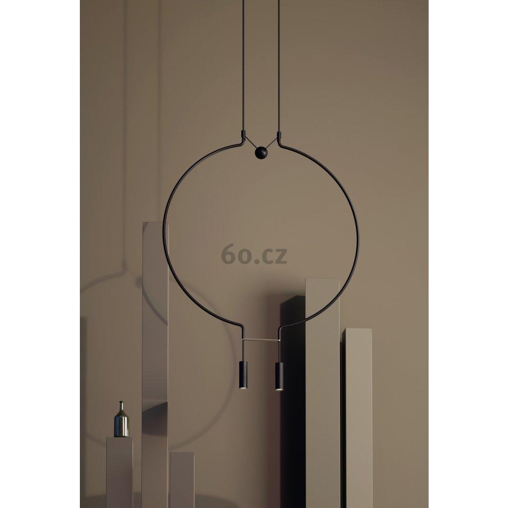 Axolight Liaison M2, černo-zlaté závěsné svítidlo, 2x9W LED 3000K stmívatelné, délka 91cm