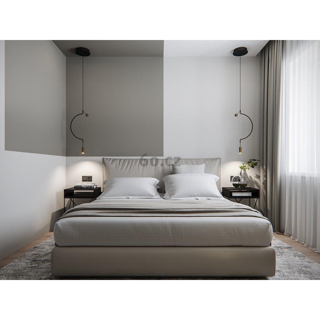Axolight Liaison P1, černo-zlaté závěsné svítidlo, 9W LED 3000K stmívatelné, délka 56cm