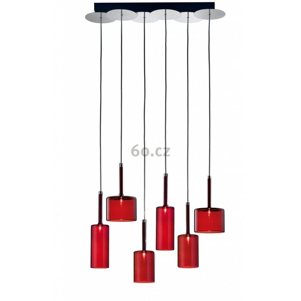 Axolight Spillray 6, závěsné svítidlo z červeného skla, LED 6x1,5W G4 délka 64,5cm