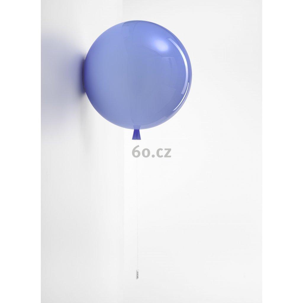 6762 6 brokis memory nastenny svitici balonek z modreho skla 1x15w e27 prum 40cm
