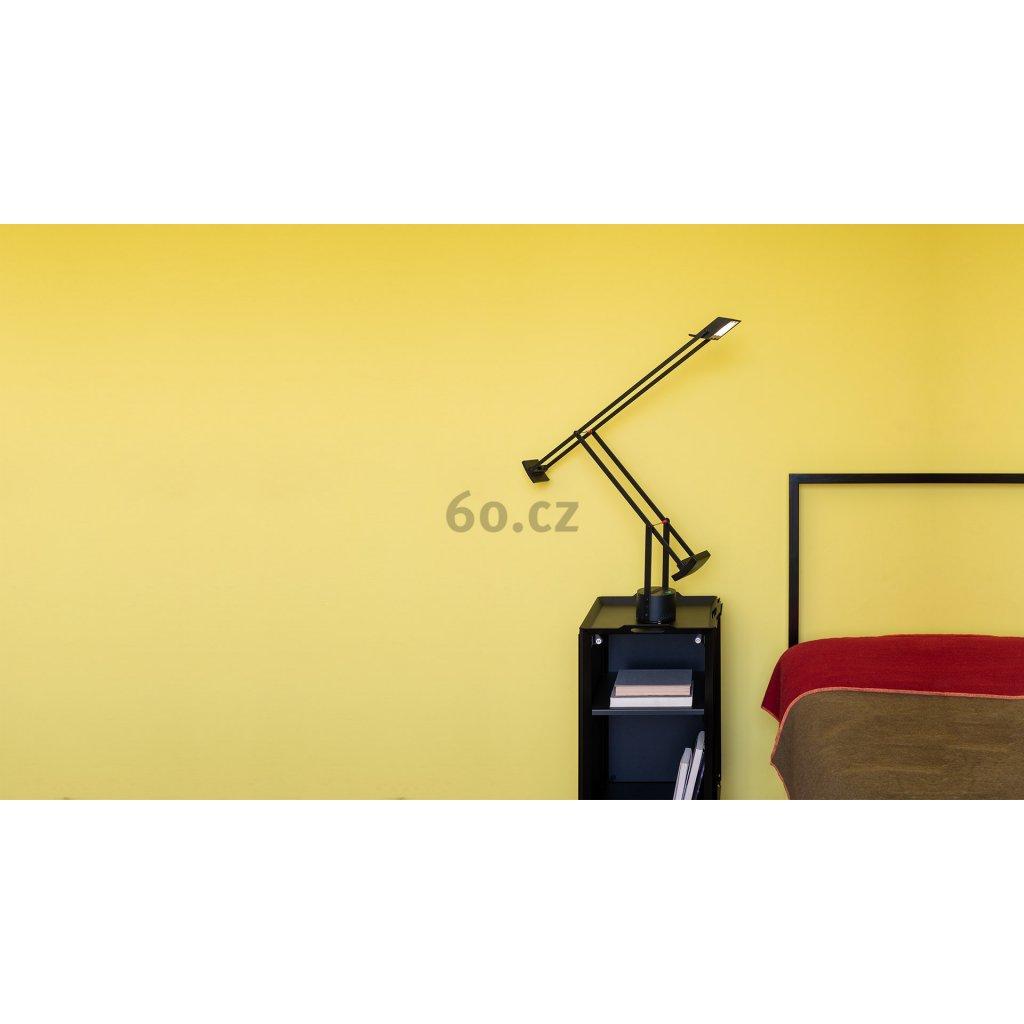 Artemide Tizio Led, designová černá stolní LED lampa s dotykovým stmívačem., 1x8W LED, 119 cm