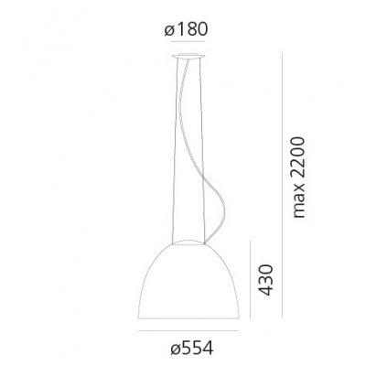 Artemide Nur LED Anthracite grey, závěsné svítidlo s nepřímým osvětlením, 45W LED 2700K, antracit, prům. 55cm