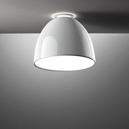 Artemide Nur Gloss mini soffitto Halo White , stropní svítidlo v bílém lesku, 1x150W E27, prům. 36cm