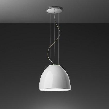 Artemide Nur Gloss mini LED White, závěsné svítidlo v bílém lesku, 30W LED 2700K, prům. 36cm