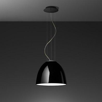 Artemide Nur Gloss mini LED Black, závěsné svítidlo v černém lesku, 30W LED 2700K, prům. 36cm