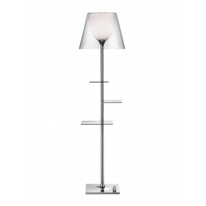 Flos Bibliotheque Nationale, stojací lampa s čirým difusorem, design Philippe Starck, 1x150W E27, 150cm
