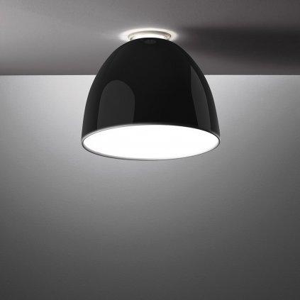 Artemide Nur Gloss mini soffitto LED Black, stropní svítidlo v černém lesku, 30W LED 2700K, prům. 36cm