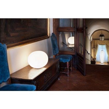 Flos Glo-Ball Basic 2, stolní lampa z triplexového skla se stmívačem, 1x205W E27, výška 36cm