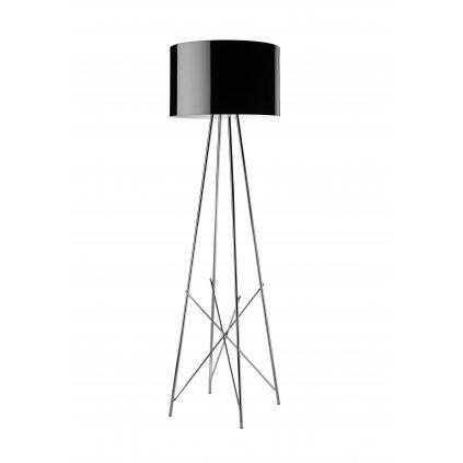 Flos Ray F1, stojací lampa s černým širmem a stmívačem, 1x105W E27, výška 128cm