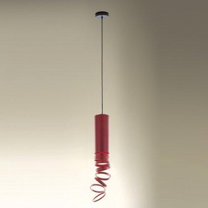 Artemide Decomposé Light, červené závěsné svítidlo, 1x8W E27, výška 60cm