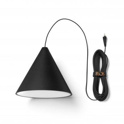 Flos String Light Cone head, svítidlo s 22m dlouhým kabelem, 26W LED 2700K, dotykové ovládání + bluetooth, prům. 19cm