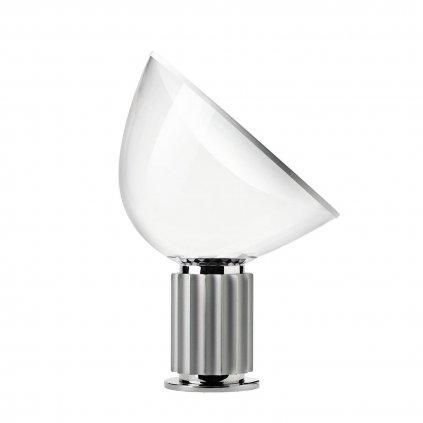 Flos Taccia LED, designová lampa se stmívačem, 28W LED 2700K, čiré PMMA/anodizovaná stříbrná, výška 64,5cm