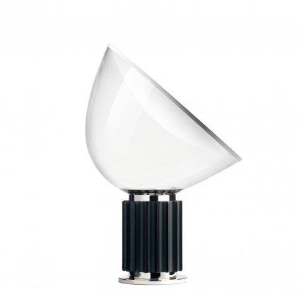 Flos Taccia LED, designová lampa se stmívačem, 28W LED 2700K, čiré PMMA/černý hlíník, výška 64,5cm