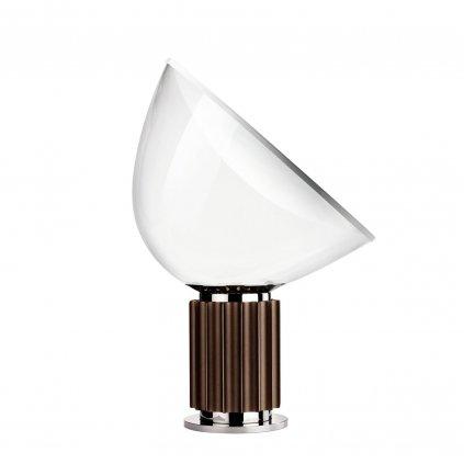 Flos Taccia LED, designová lampa se stmívačem, 28W LED 2700K, čiré PMMA/anodizovaná bronzová, výška 64,5cm
