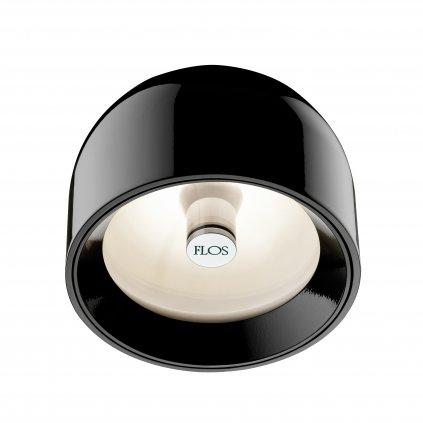 Flos Wan C/W, designové svítidlo, 1x33W, černá, černý + zelený kroužek, čiré sklo, prům.11,5cm