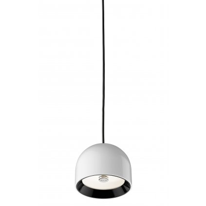 Flos Wan S, designové závěsné svítidlo, 1x33W, bílá, černý + zelený kroužek, bílé sklo, prům.11,5cm
