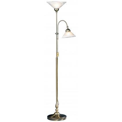 Fisher & Honsel Antwerpen, stojací lampa, 1x40W + 1x60W E27, mosaz/alabastr, výška 182cm