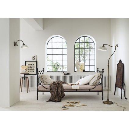 Il Fanale Anita, rustikální nástěnné svítidlo z antické mosazi a keramiky, 1x46W E27, výška 25cm
