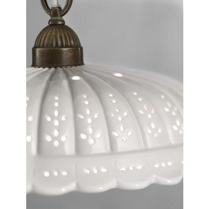 Il Fanale Anita, rustikální lampa z antické mosazi a keramiky, 1x77W E27, výška 170cm