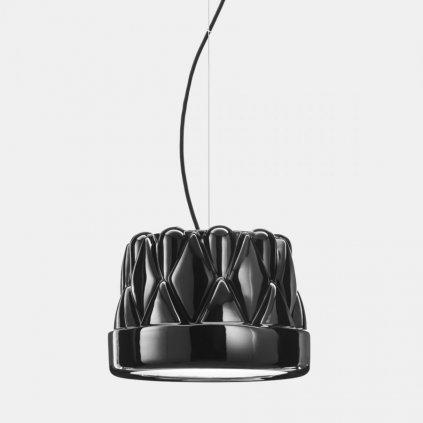 Il Fanale Babette sospensione media, závěsné svítidlo, 1x57W E27, leskle černá, prům. 28cm