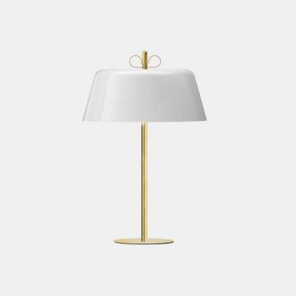 Il Fanale Bon Ton, stolní lampa z mosazi, bílé stínítko, 3x30W E14, výška 56,1cm