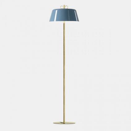 17460 5 il fanale bon ton stojaci lampa z mosazi modre stinitko 3x30w e14 vyska 155 5cm