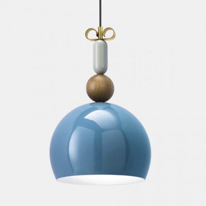 17469 5 il fanale bon ton modre zavesne svitidlo s prvky dreva a mosazi 1x77w e27 prum 35cm
