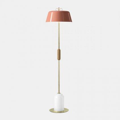17526 5 il fanale bon ton stojaci lampa z mosazi dreva bila zakladna cervene stinitko 3x30w e14 vyska 155 7cm