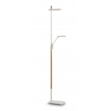 Mantra 4942 Phuket, stojací lampa pro přímé a nepřímé osvětlení, 7+21W LED, bílá-dřevo , výška 180cm