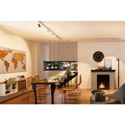 Paulmann Aldan, stolní lampa, 3,5W LED 2700K stmívatelné, černá/broušený hliník, výška 10cm