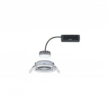 Paulmann Premium LED Slim Coin Satin, náklopná zápustná bodovka 1x6,8W LED 2700K stmívatelná, chrom, prům. 8,4cm