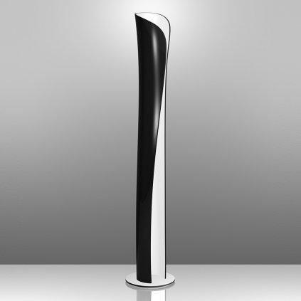 Artemide Cadmo, designová stojací lampa s černou vnější a bílou vnitřní úpravou se stmívačem, 44W + 10W LED 3000K, výška: 174cm