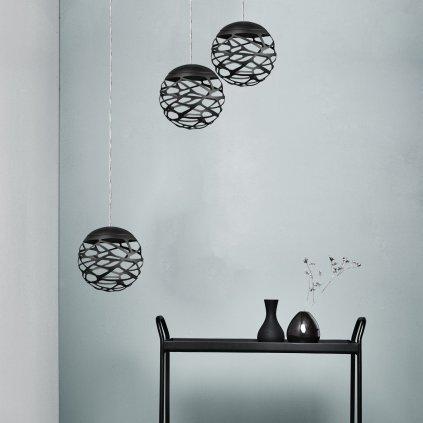 40212 6 studio italia design kelly kluster zavesne svitidlo 1x9w led 2700k stmivatelne cerna prum 18cm