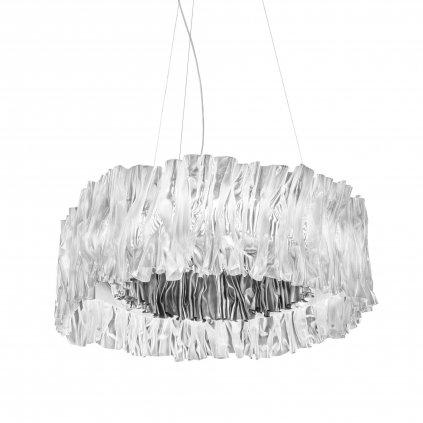 Slamp Accordéon, designové svítidlo se stříbrnou a prismou, 51W 2700K stmívatelné, prům. 57cm