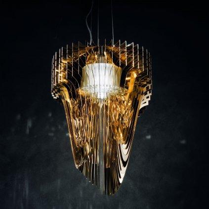Slamp Aria L gold, závěsný světelný objekt od Zaha Zadid, 70W LED 2700K, délka 115cm