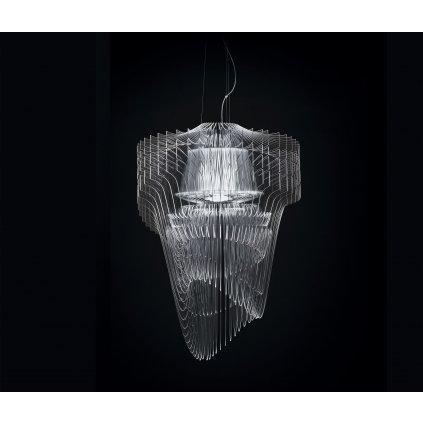 Slamp Aria L transparent, závěsný světelný objekt od Zaha Hadid, 70W LED 2700K, délka 115cm