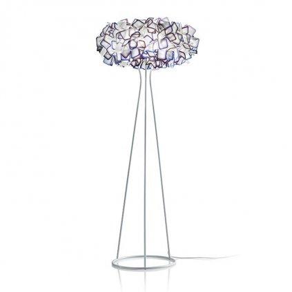 Slamp Clizia floor, stojací designová lampa z Opalflexu s fialovým okrajem, 3x12W E27, výška 155cm
