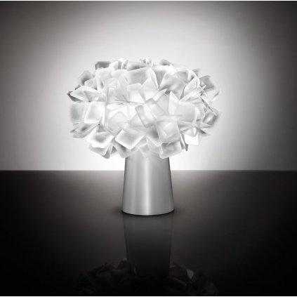 Slamp Clizia table, stolní designová lampička z Opalflexu s bílým okrajem, 1x6W E14, výška 25cm