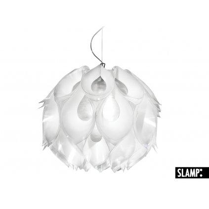 Slamp Flora medium, závěsná exotická rostlina s bílými lístky, 3x20W, prům. 50cm