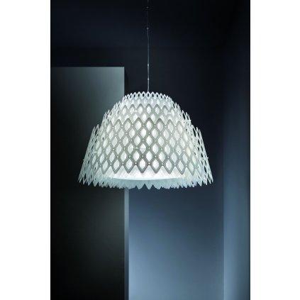 Slamp Half Charlotte, bílé designové závěsné svítidlo, 70W LED 2700K stmívatelné, prům. 79cm