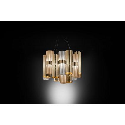 Slamp La-Lollo Gold suspension M, designové závěsné svítidlo, 28W LED 2700K stmívatelné, průměr 48cm