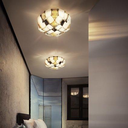 Slamp Mida, extravagantní svítidlo, 3x12W LED E27, bílá/ambrová, prům. 50cm