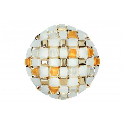 Slamp Mida large, extravagantní svítidlo, 4x12W LED E27, bílá/ambrová, prům. 67cm