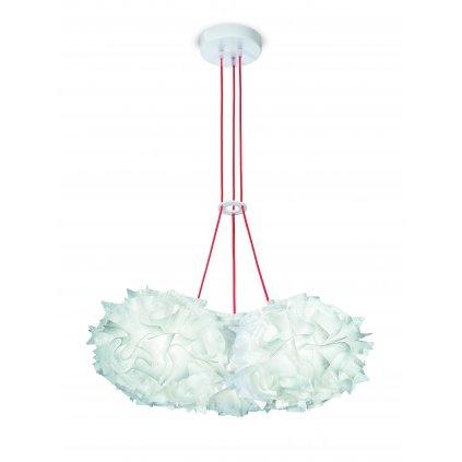 Slamp Veli Couture Mini Trio, závěsné svítidlo s červeným kabelem, 3x12W LED E27, prům. 52cm