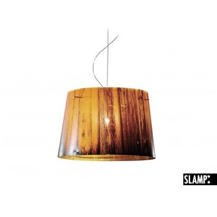 Slamp Woody, designové závěsné svítidlo s oranžovo-černým stínítkem v dekoru dřeva, 1x100W, prům. 37cm