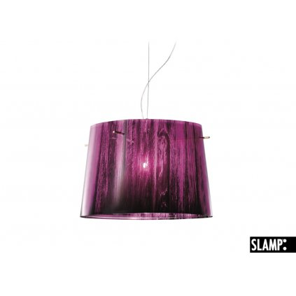 Slamp Woody, designové závěsné svítidlo s fialovo-černým stínítkem v dekoru dřeva, 1x100W, prům. 37cm