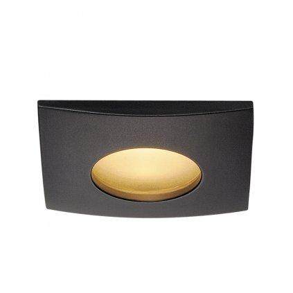 SLV Out 65, černé zápustné svítidlo, 12W LED 3000K stmívatelné, 8,2x8,2m, IP65
