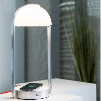 SLV Brenda, stolní lampa s bezdrátovým nabíjením mobilních telefonů, LED 11W 3000K, výška 40cm