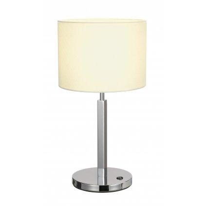 SLV Tenora, stolní lampička z bílého textilu s vypínačem, 1x60W E27, výška 48cm