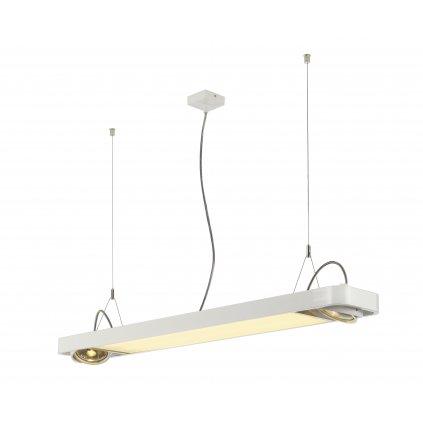 SLV Aixlight 120 R2 Office, bílé svítidlo, 22W LED 4000K + 2x75W GU10 ES111, délka 122,5cm